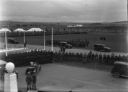 Royal Visit, May 1927. Official vehicles arriving outside Parliament House.