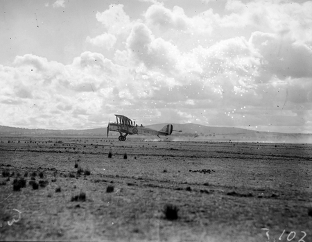 Royal Visit, May 1927. RAAF DH9 aircraft taking off.