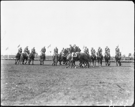 Royal Visit, May 1927. Mounted police practising riding evolutions in York Park.