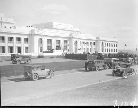 Motor cars in Parkes Place in front of  Parliament House