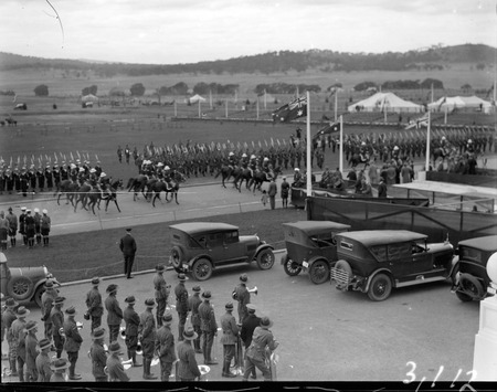 Royal Visit May 1927 - Mounted police riding past Naval and Army formations outside Parliament House during rehearsal