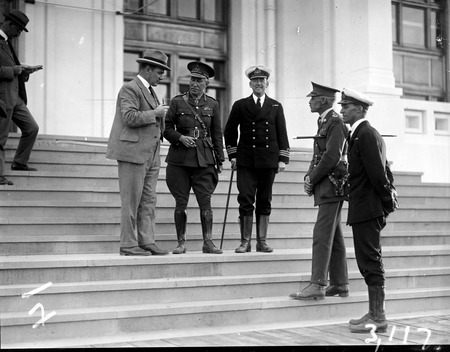 Sir John Butters with Naval and Army officers on steps of Parliament House