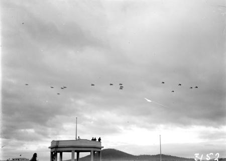RAAF Aircraft in flight at the Royal Review.