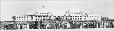 Photograph of the front of Parliament House during the opening ceremonies, from Parkes.