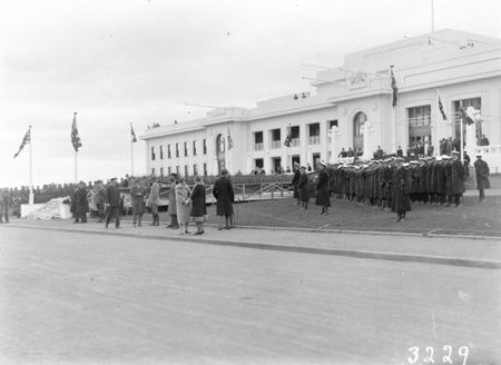 Front of Parliament House during rehearsals for the opening. Navy on the right.