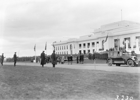 Front of Parliament House during rehearsals for the opening.