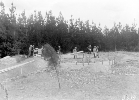 Foundations for telescope under construction on Mt Stromlo (published in annual report).