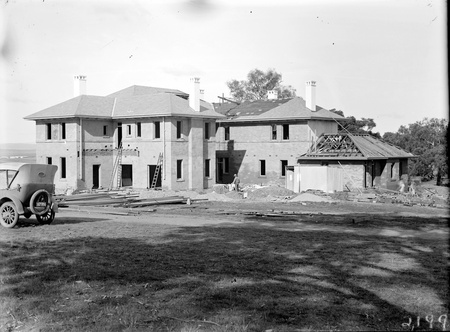 Prime Minister's Lodge nearing completion, from south west, Adelaide Avenue, Deakin
