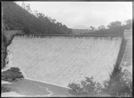 Cotter Dam wall, spillway and stilling pool.