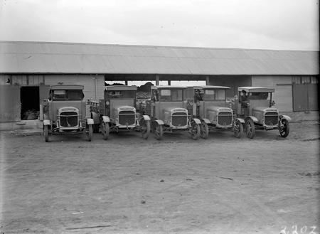 Five Thorneycroft motor trucks and garage