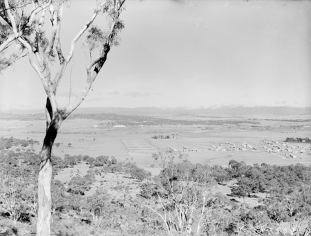 View from Mount Ainslie showing Reid, Anzac Park, St John's Church and Parliament House. Snow on the Brindabellas.