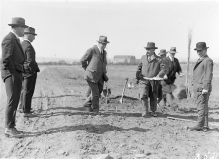 Tree planting ceremony in Brisbane Avenue by members of the Commercial Travellers Association. Kingston Power Station in background.