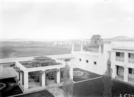 Courtyard of Parliament House with East Block in the background.