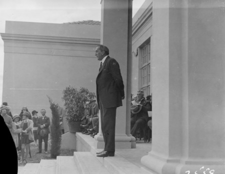 The Rt Hon Stanley Melbourne Bruce speaking at the opening of the Ainslie School in September 1927.