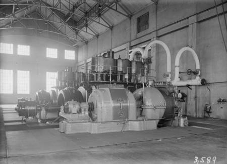 Kingston Power Station. BTH Curtis 1500kW Turbo Alternator. Installed Oct 1927. Bellis and Morcom steam engines in background.