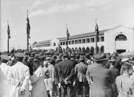 Formal opening of Civic Centre by Prime Minister S.M.Bruce. Part of the crowd in front of the Sydney Building.