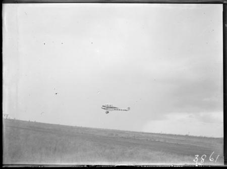 Bert Hinkler's Avro Avian aircraft ready to land.