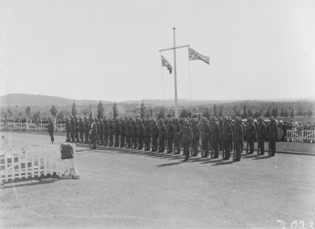 ANZAC Day 1928, Parliament House. Duntroon Royal Military College Cadets on parade.