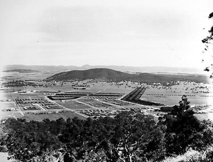 Braddon and Civic Centre from Mount Ainslie,Haig Park to the right