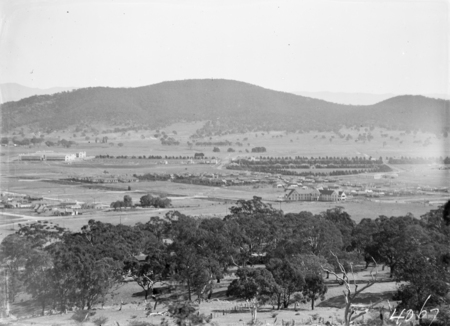 Braddon and Civic Centre from Mount Ainslie. Line of trees delineates Northbourne Avenue.