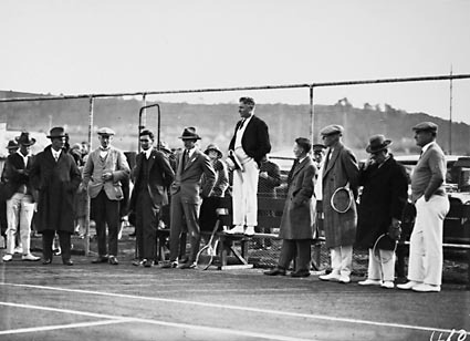 Dr Earle Page speaking at the opening of the new Canberra Tennis Association Central Courts,  Manuka.