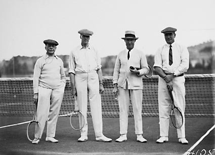 Mr Latham, Sir Littleton Groom, Dr Earle Page  and Sir John Butters in tennis gear  at the opening of the new Canberra Tennis Association Central Courts,  Manuka.