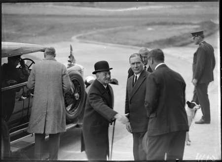 Sir John Butters greeting the Governor General, Lord Stonehaven, at Capitol Theatre, Manuka, for Empire Day celebrations.