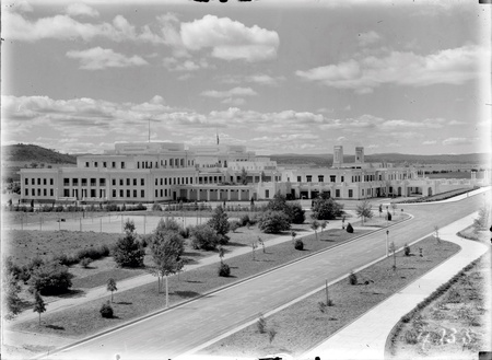 Parliament House from West Block, looking across the Senate Gardens and tennis courts