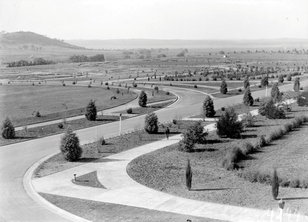 View from Parliament House towards Duntroon showing young trees and roads