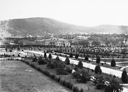 Albert Hall from Parliament House showing young trees and Black Mountain