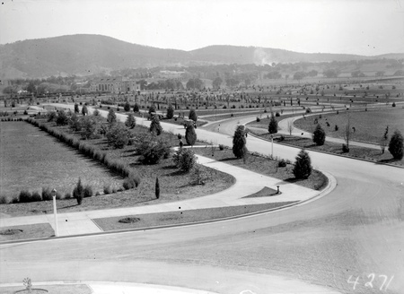 Albert Hall from Parliament House showing young trees and road system
