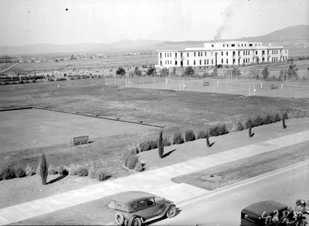 Parliamentary  Bowling green, Tennis courts and East block from Parliament House