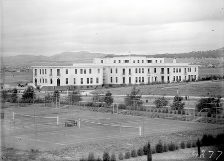 Parliamentary  Tennis courts and East Block from Parliament House