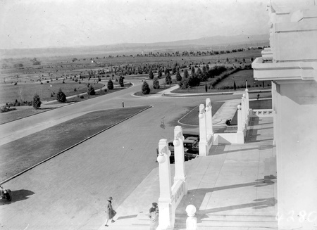 Forecourt of  Parliament House towards Duntroon showing young trees
