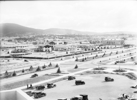 Hotel Canberra, Commonwealth Avenue and Albert Hall from West block showing young trees and road system.