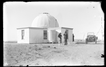 Oddie Telescope dome on Mount Stromlo looking north-east. Building housing telescope erected 1908-1910. Barrachi, Victorian Government Astronomer visited each 6 weeks to conduct observations and report to the British Association on the suitability of Mount Stromlo as a site for a solar observatory.