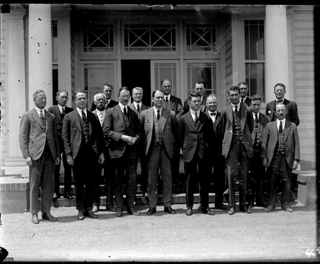 Federal Capital Commission staff outside Acton Offices. Includes Sir John Butters, Charles Studdy Daley and Clarence H Gorman.