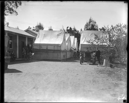 Tents and buildings. Bachelors quarters, Acton.