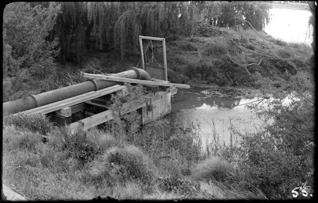 Kingston Power Station. Water supply pipes for boiler feed and cooling from a weir in the Molonglo River. Also used as a swimming pool as the water discharged from the power station was slightly warmer than the river.