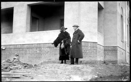 Right Honourable. Stanley Bruce and Mrs. Bruce at Parliament House (under construction).