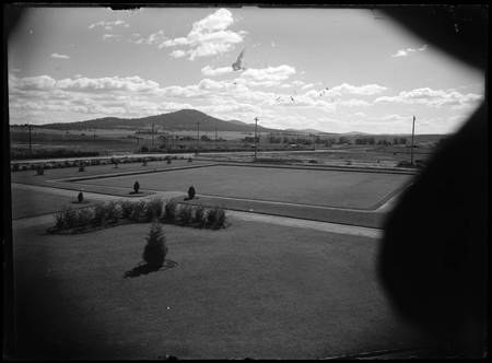 Hotel Canberra bowling green, looking towards Mount Ainslie.