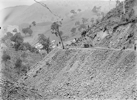 Road construction work (Uriarra Road). Murrumbidgee River on the left.