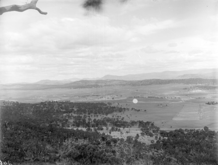 Panorama from Mount Ainslie looking south, overlooking Anzac Parade and St Johns Church.
