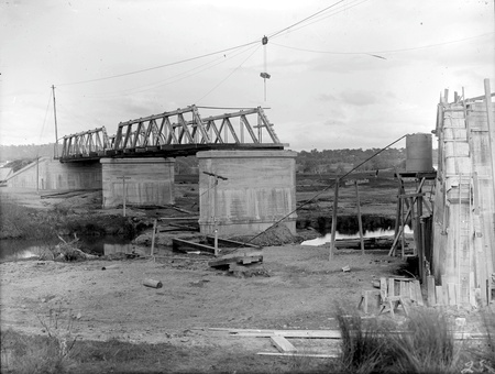 Commonwealth Avenue Bridge under construction showing trusses installed for the first two spans, looking south
