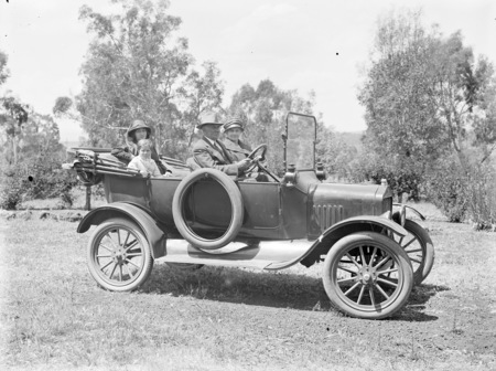 Cecil Moore in Ford Model T car with Mrs Percy Douglas and Mrs John Southwell.