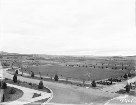 View from Parliament House roof, northwards. Commonwealth Avenue Avenue Bridge in centre.