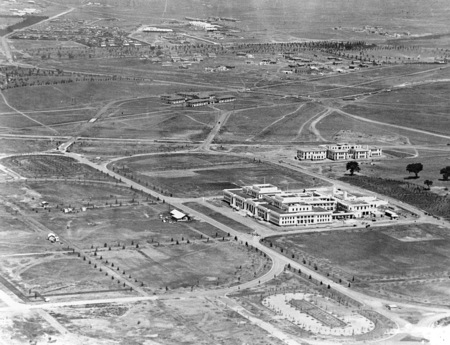 Aerial view showing Parliament House, East Block, Forrest and Kingston.