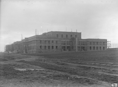 Parliament House under construction showing brickworks railway, from north west.