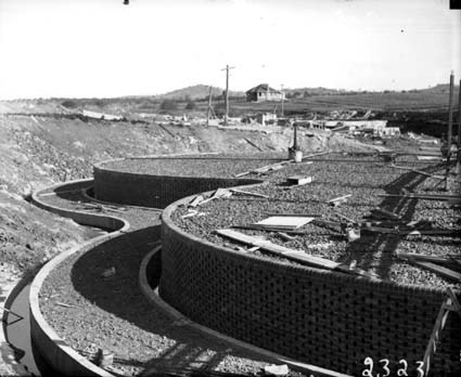 Weston Creek Sewerage Treatment Works - Trickling filters under construction