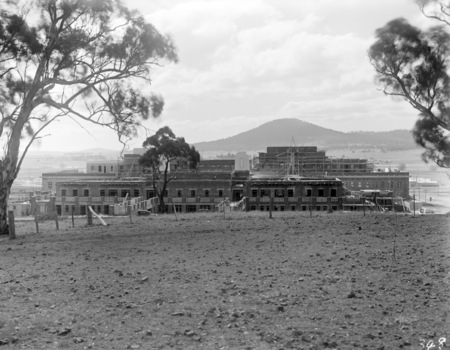 Parliament House under construction from Camp Hill.